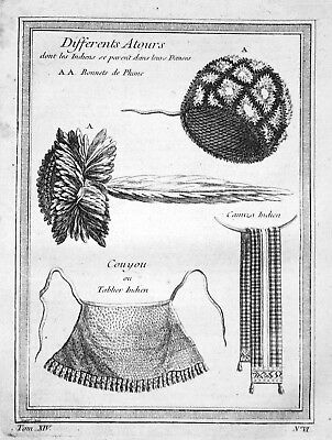 ca. 1750 Native American attire bonnet pinafore Indian Kupferstich antiqu 155028
