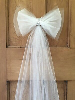 10xPew Ends Tulle Bows church wedding decorations White Diamante