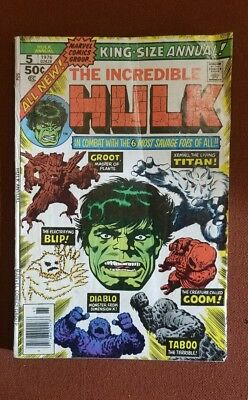 The Incredible Hulk Annual 5 2nd Appearance Groot 1976 Marvel Comics