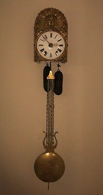 19th Century French Antique Comtoise Wall Clock with Lyre Pendulum