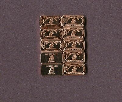 Sailing Ship .999 Copper Bars One Gram  Each 1X10