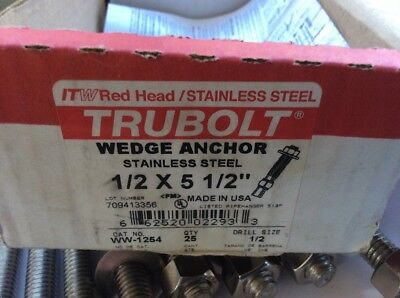"Red Head Trubolt Wedge Anchor 1/2""X5 1/2"" X8 Wedge Anchors"