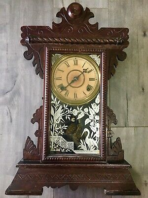 Antique clock Seth Thomas gingerbread oak kitchen wind up Complete & Running