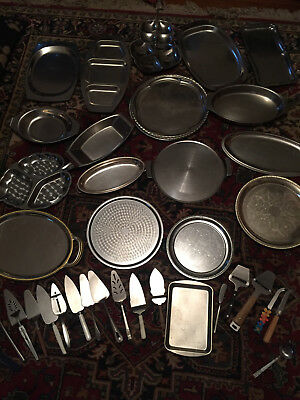 Metal Serving plates variety of sizes and shapes