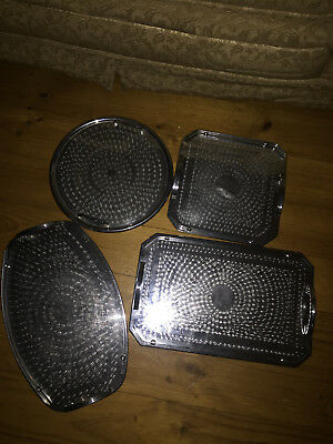Retro silver trays 4 various shapes and sizes