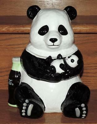 "Rare* 2000 Le 10.25"" Ceramic Coca-Cola ""panda Family"" Mama Bear & Cub Cookie Jar"