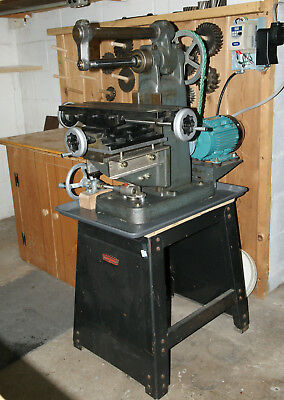 RARE! Benchmaster benchtop horizontal milling machine, stand, tooling, cabinets
