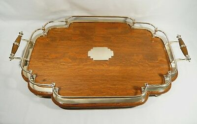 "Antique OAK & SILVER PLATE Large GALLERY Serving TRAY 22 3/4"" x 15 1/4 """