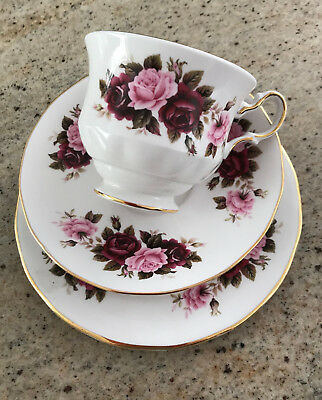Queen Anne Fine Bone China Cup Saucer and Plate Red Rose