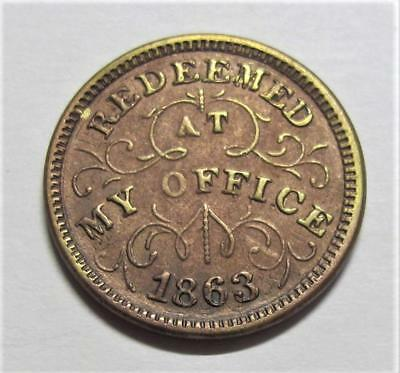 1863 Indain Head One Cent * Hard Times Token * Oliver Boutwell Miller * Troy NY