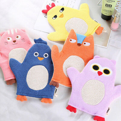 Baby Cartoon Animal Bath Gloves Mitt Child Soft Wash Cloth Towel Kawaii Bathing