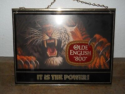 """Olde English 800 """"It Is The Power"""" Framed Mirrored Hanging Beer Sign"""