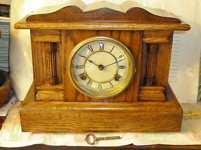 lovely solid oak waterbury mantel clock i restored 8 day early 1900s arts crafts