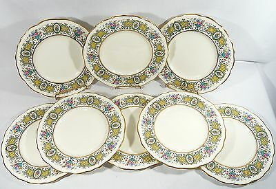 """8 Royal Cauldon China Hand Painted Gilded 9"""" Cabinet Luncheon Plates pat. V4381"""