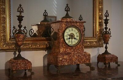 French Antique Marble Clock with Matching Garnitures Vincenti 1855