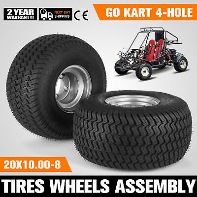 2 PCS Go Kart Tires Rims Wheels Assembly 4-Hole Pair Dune Buggy Off Road