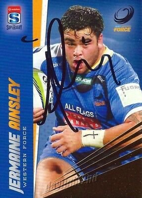✺Signed✺ 2017 WESTERN FORCE Rugby Union Card JERMAINE AINSLEY Gold