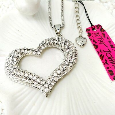Betsey Johnson Silver crystal heart Pendants chain Sweater chain necklace AA384