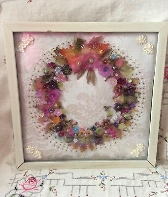 Vintage Hand Embroidered Framed Doilie, Shabby Chic Linen Just Gorgeous