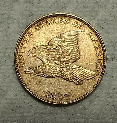 Brilliant Uncirculated 1857 Flying Eagle Cent! Razor sharp, high grade piece!