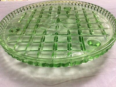 Green Depression Glass Cake Plate  Or  Dressing Table  Tray