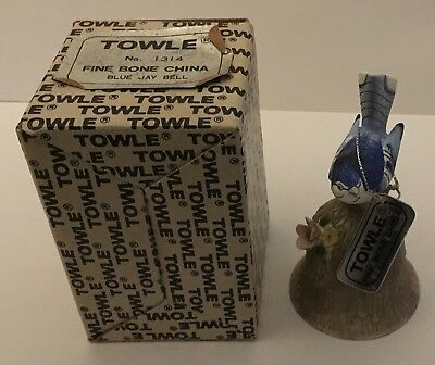 Towle Fine Bone China Bell w/ Tag Blue Jay  Original Box Very Good Condition