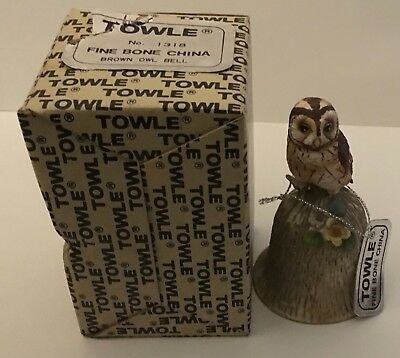 Towle Fine Bone China Bell w/ Tag Brown Owl Original Box Very Good Condition