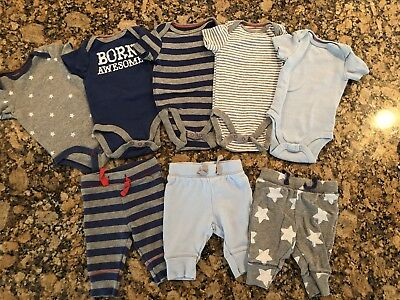 New, Without Tags, Cat & Jack Outfits (5 Tops, 3 Bottoms)-0 To 3 Mos