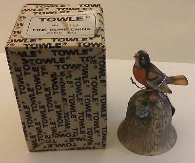Towle Fine Bone China Bell w/ Tag Robin Original Box Very Good Condition