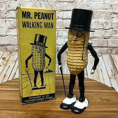 VTG 1955 Mr Peanut Wind-Up Walking Toy Attached Cane Original Box Made In USA