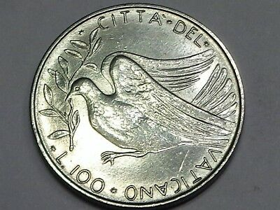 Vatican 1972 Paul VI 100 Lire Dove Bird of Peace In Flight Olive Branch in Beak