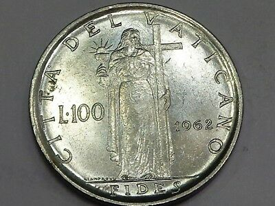 Vatican 1962 John 23 100 Lire Fides Faith Standing with Holy Grail Cup and Cross