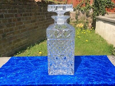 Crystal Glass  Square Whisky or Spirit Decanter Seasons Cut