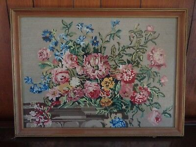 Beautiful Wildflower Floral Arrangment Tapestry Behind Glass Simple Wooden Frame