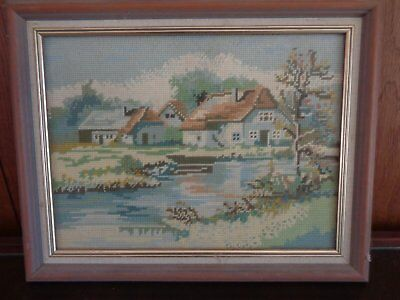 Beautiful Quaint Old Country Cottage Tapestry Behind Glass Simple Wooden Frame