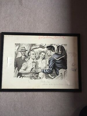 Original Drawing By Australian Listed Artist Noel Francis Rhoden 1930's