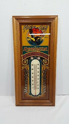 Vintage REMINGTON FIRST IN THE FIELD THERMOMETER SIGN Circa 1980
