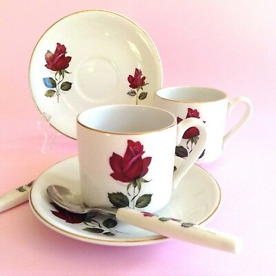 2 Vintage MYOTT 1940s Staffordshire Red Roses DUOS Demi Cups Saucers & Teaspoons