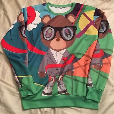 Kanye West Bear Printed Sweater Size LARGE L KIDS YOUTH Yeezy Multicolor Summer