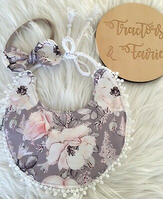 Baby girl boho bib  Nylon knot Headband in modern floral by Tractors & Fairies