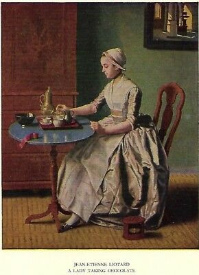"VINTAGE (THE MEDICI SOCIETY LTD) POSTCARD: ""A LADY TAKING CHOCOLATE"" ~ Liotard"