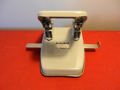 "Foothill 2 Hole Paper Punch Adjustable 4""-13"" *Heavy Duty* All Metal Gray *EXC*"
