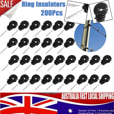 200PCS Screw-In Ring Insulators Wood Post Electric Fence Ring Polyrope Insulator