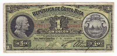 Costa-Rica, 1 Colon, 1 de Octobre de 1914, P143, VF+, RARE!!!