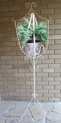 1950's VINTAGE WHITE WROUGHT PLANT or  BIRD CAGE HOLDER-1.77 M TALL-P/U VIC 3150