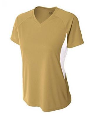 A4 Women's Short Sleeve Cooling Performance Color Block Tee, Vegas Gold/White, M