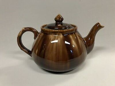 Vintage Hoffman Australian Pottery Brown Glazed Teapot Marked To Base