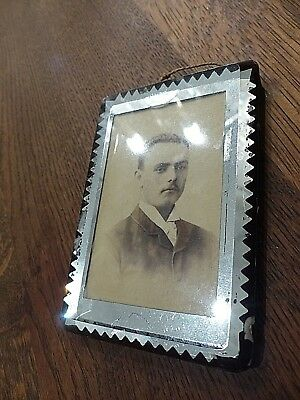 Antique 1879 Dated Photographer Card At Back - Art Deco Mirrored Picture Frame