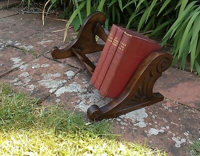 Antique carved wooden book trough vintage