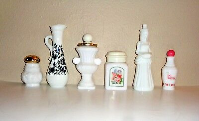 Avon Vintage 1970's Milk Glass Perfume Bottles Lot of 6
